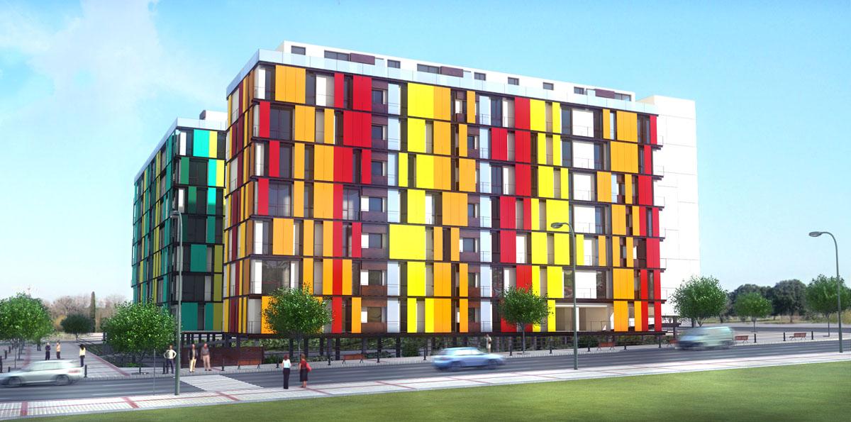 Heptagrama edificio de 162 viviendas en villaverde